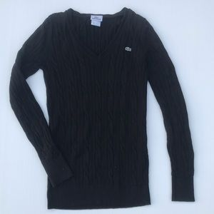 Lacoste size 36 cable knit navy sweater